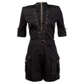 Balmain SS16 Black Lace Up Jumpsuit