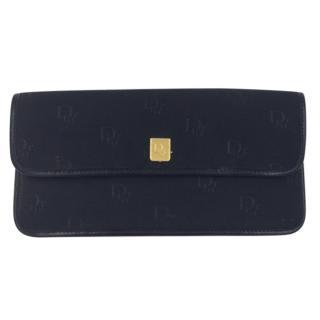 Christian Dior Vintage Black Logo Fabric Leather Wallet Purse
