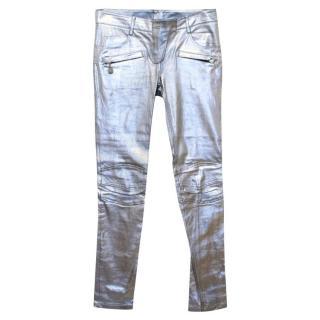 Balmain Metallic Leather Motocross Trousers