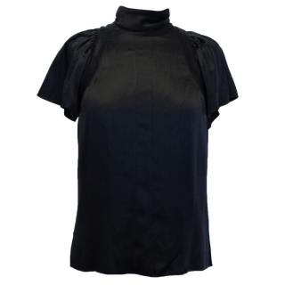Prada Black Silk High Neck Top