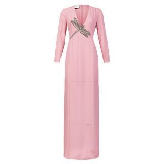 Gucci SS16 Pink Silk Embellished Maxi Dress