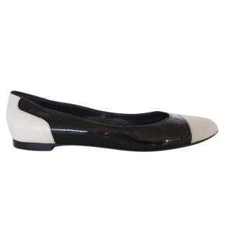 Bally Black and White Patent leather ballet shoes