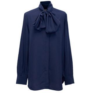 Celine Navy Silk Blouse