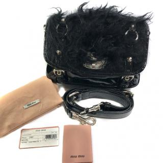 Miu Miu Crossbody Black Faux Fur Bag