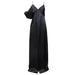 Saint Laurent SS16 Black Silk Crystal Embellished Gown