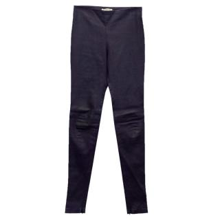 Balenciaga Navy Blue Leather Stretch Trousers