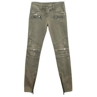 Balmain Khaki Skinny Biker Jeans