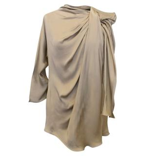 Lanvin Gold Silk Blouse With Gathered Front Detail