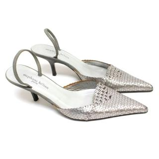 Stephane Kelian Silver Leather Woven Slingback Pumps