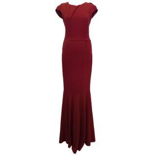 Roland Mouret Burgandy Crepe Evening Gown