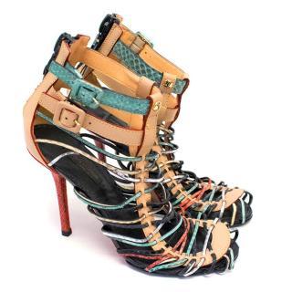 Louis Vuitton Snakeskin Multicoloured Strappy Sandals