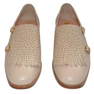 Rupert Sanderson Pepin Studded Beige Leather Loafers