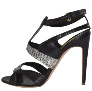 Rupert Sanderson Lizard /Black Leather High Heel Sandals