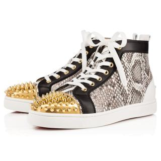Christian Louboutin Grey Snakeskin Gold Spike High Trainer
