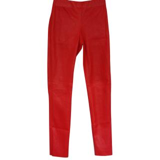 Joseph red leather leggings Fr 36 sold out