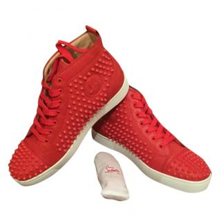 Christian Louboutin men's red spiked high tops