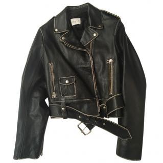 Sandro cropped leather jacket - never worn