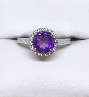 18ct White Gold Amethyst & Diamond Halo Ring
