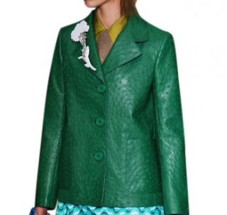 Prada Green Ostrich Leather Jacket Blazer Coat