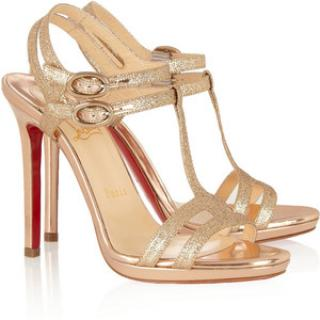 Christian Louboutin double tutti gold glitter shoes 39.5