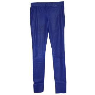 Les Chiffoniers Cobalt Blue paper-thin leather trousers S