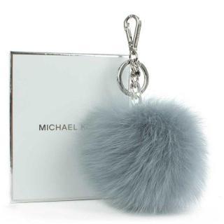 Michael Michael Kors Dusty Blue/Grey XXL Fur Keyring Bag Charm