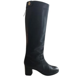 Celine knee high black leather boots