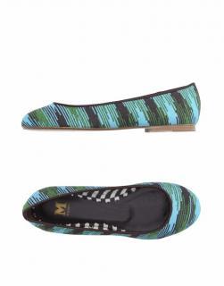 M Missoni Blue/Green/Brown Jacquard Ballet Flats