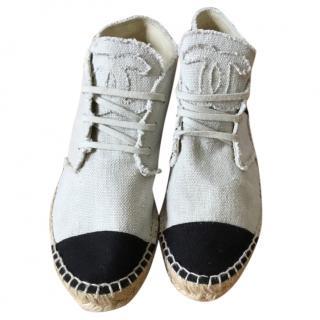 Chanel canvas lace up espadrilles