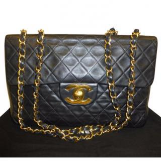 Chanel Vintage Maxi Jumbo XL Flap Bag gold plated hardware