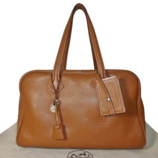 HERMES Gold Clemence Victoria 35CM