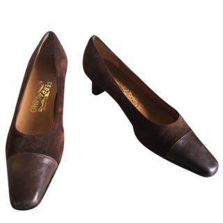 Salvatore Ferragamo Brown Suede Heeled Court Shoes 38