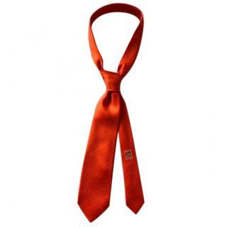Hermes Nattier de Soie Silk Orange Tie RRP �170.