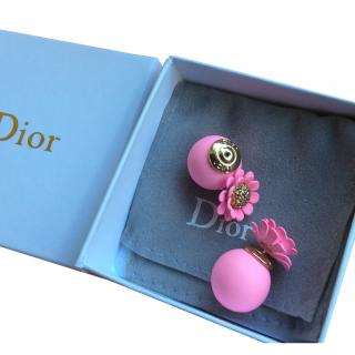 Dior Double Pink Flower Ball Earrings