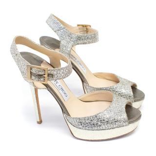 Jimmy Choo Glitter Twill Platform Heels