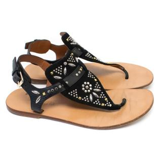 Valentino Garavani Black Suede Embellished Sandals