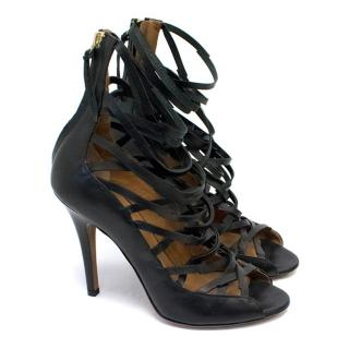 Isabel Marant Paw Black Leather Heeled Sandals
