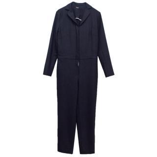 Adam Lippes Navy Long Sleeve Utility Jumpsuit