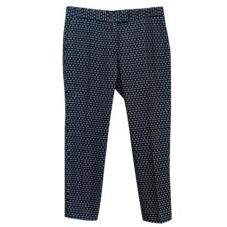Joseph Navy Patterned Cropped Cigarette Trousers