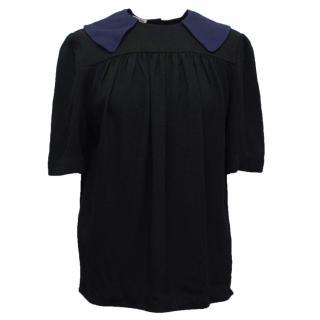 Miu Miu Black Top With Navy Collar