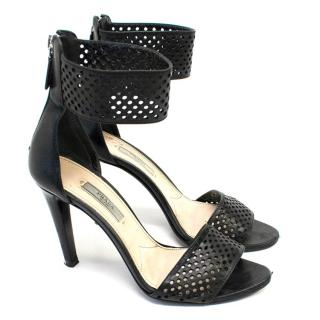 Prada Black Perforated Leather Ankle Cuff Heeled Sandals
