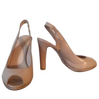 Ash leather nude peep toe slingbacks