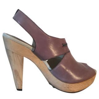 Bimba & Lola leather taupe wooden heel platform shoes