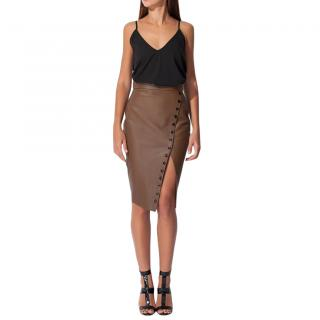 Andre Andreescu Leather Wrap Skirt