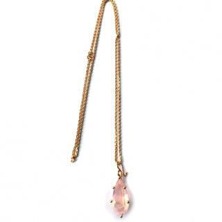 12 Carat Pink Quarts Handmade gold necklace
