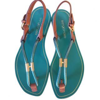 Sergio Rossi green & gold tone flat thong sandals