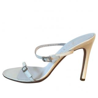 Gina white strappy high heel sandals with diamante buckles