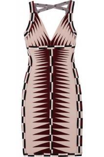 Herve Leger Nude/Multi Color V-Neck Bandage Dress