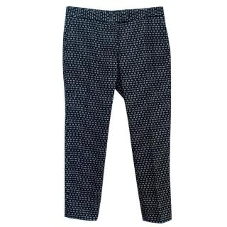 Joseph Navy Printed Cotton Trousers