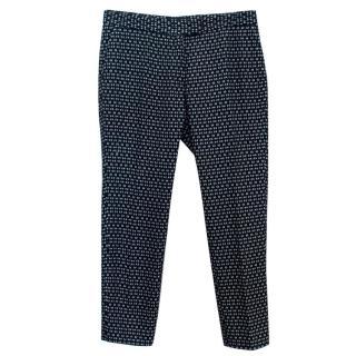 Joseph Navy Printed Cotton Trousers